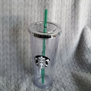 STARBUCKS CLEAR FACETED TUMBLER